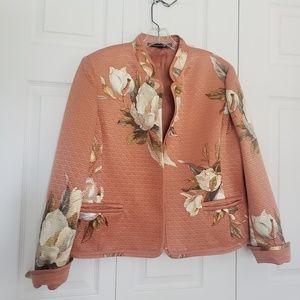 Linda Allard Ellen Tracy Salmon floral jacket